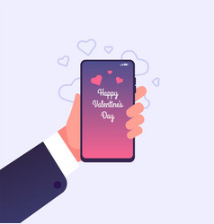love message hand holding smartphone with happy vector image
