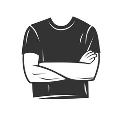 Mans profile with a folded arms vector