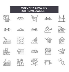masonry line icons signs set outline vector image