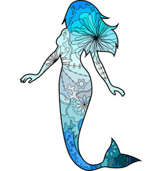 Mermaid with transition colors vector