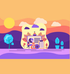 modern flat design concept analysis on outdoor vector image