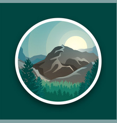 mountain peaks sun and green forest vector image