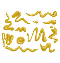 Mustard drops spills and splashes food vector