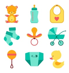 Newborn baby stuff icons set vector