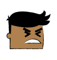 Office worker face angry business man cartoon vector