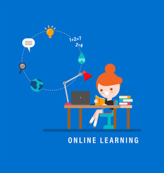 Online learning e-learning concept for distance vector