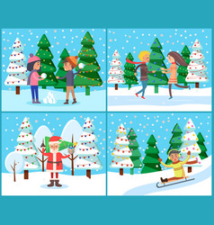 people in winter park landscape with snowfall vector image