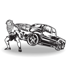 Pickup truck man strong gym vector
