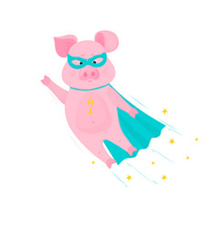 pig superhero flies in mask and cape piggy vector image
