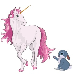 Pink unicorn with bunny vector