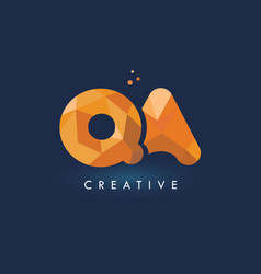 qa letter with origami triangles logo creative vector image