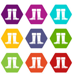 Rubber boots icon set color hexahedron vector