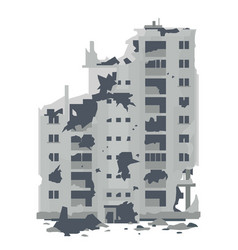 Ruins from destroyed residential building vector