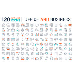 Set flat line icons office and business vector