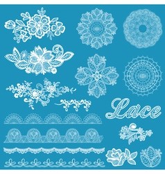 Set lace ribbons flowers vector