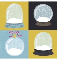 Set of 4 with hand drawn snow globe vector