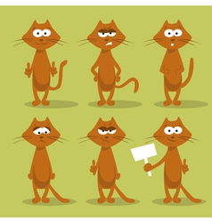 set of cats with emotions vector image