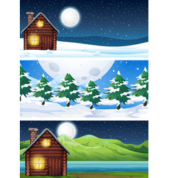 Set of house in nature landscape vector