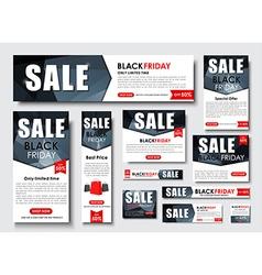 Set of web banner for Black Friday sales standard vector