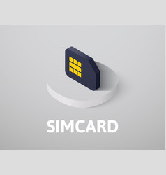 Simcard isometric icon isolated on color vector