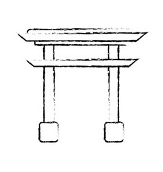 sketching gate monument japanese vector image