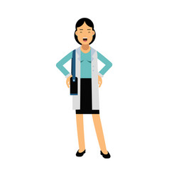 Smiling businesswoman cartoon character in elegant vector