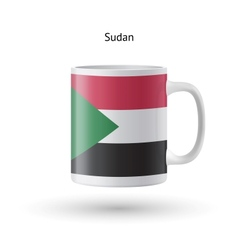 Sudan flag souvenir mug on white background vector