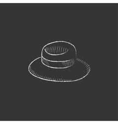 Summer hat Drawn in chalk icon vector