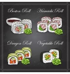 sushi color sketch set vector image