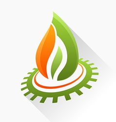Symbol fire with gear Green and orange flame glass vector