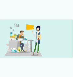 Tired office worker and employer with certificate vector