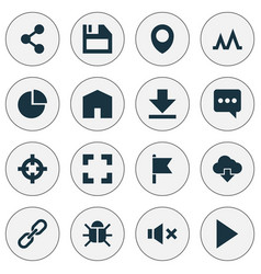 user icons set with target storage bug and other vector image