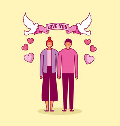 Valentines day celebration with lovers and doves vector