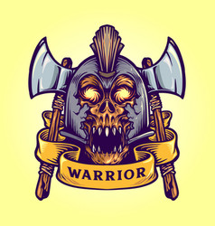 viking skull warrior with banner vector image