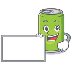 With board soft drink character cartoon vector