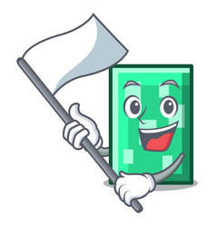 With flag rectangle mascot cartoon style vector
