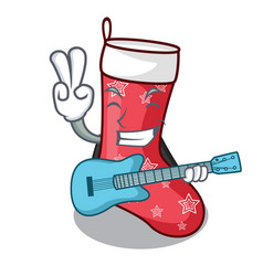 With guitar cartoon christmas sock homemade fur vector