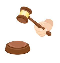 Wood gavel icon flat style vector