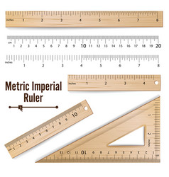 Wooden metric imperial rulers centimeter vector