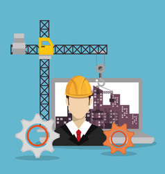 worker under construction with laptop vector image