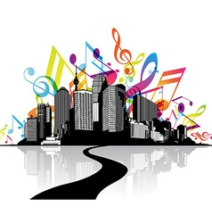 Abstract with cityscape road and sky created from vector image