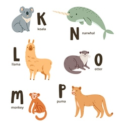 Animal alphabet letters k to p vector image vector image