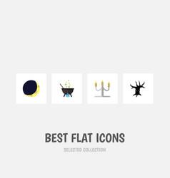 flat icon halloween set of candlestick magic vector image