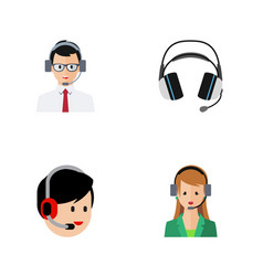 Flat icon telemarketing set of help earphone vector