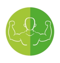 man silhouette bodybuilder muscle vector image
