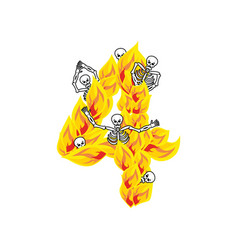 number 4 hellish flames and sinners font fiery vector image
