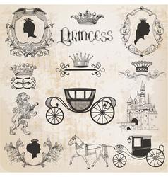 Vintage Princess Girl Set vector image vector image