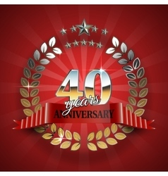 Anniversary 40th ring with red ribbon vector image vector image