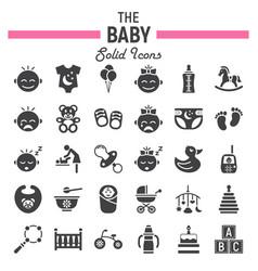 baby solid icon set kid symbols collection vector image