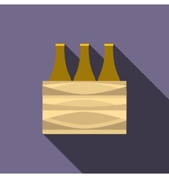 Brown beer bottles icon flat style vector image vector image